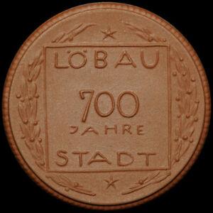 LÖBAU / SACHSEN: Porzellan-Medaille 1921. 700 STADT LÖBAU ⇒ GIPSFORM-PROBE!