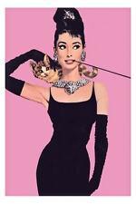 """Audrey Hepburn *FRAMED* CANVAS ART Movie - Pink 16""""X 12"""""""
