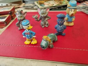 6 VINTAGE PLASTIC TOY CARTOON CHARACTERS 1960s. TOM & JERRY, MUTLEY, DONALD DUCK