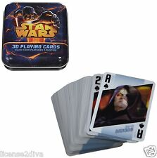 3D LENTICULAR STAR WARS PLAYING CARDS IN METAL TIN! EACH CARD HAS 2 PHOTOS! NEW!
