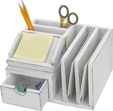 Vintage Weathered White Wood Desktop Memo Sticky Note Pad Holder Amp Mail Sorter
