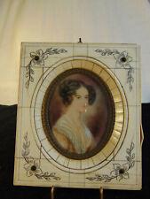 Antique Handpainted Portrait, jeweled bone frame probably Victorian