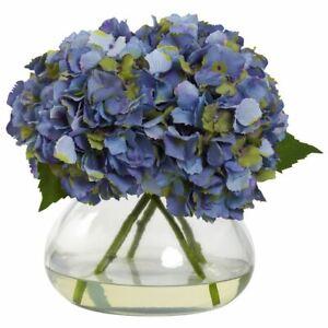 "Luxury Blue Large Blooming Hydrangea w/Vase - 9"""
