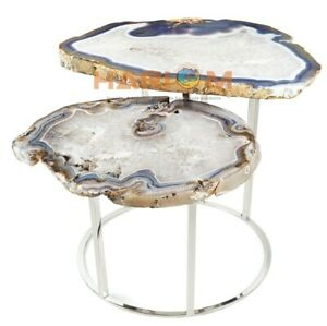 """16"""" Lighter Natural White Agate Unique Side Table Top Interior Home Decors A031"""