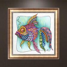DIY 5D Diamond Painting Gold Fish Embroidery Cross Stitch Craft Home Art Decor