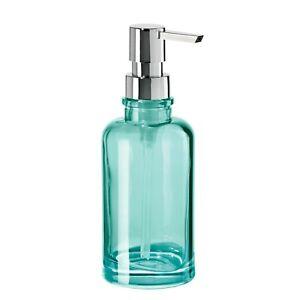 OGGI 12oz. Round Glass Lotion & Soap Dispenser for Kitchen or Bath 5710.6 Aqua