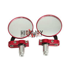 """Side Rearview Mirror 7/8"""" Red Round For Cruiser Chopper Sports Street Bike"""