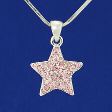 "Star Made With Swarovski Crystal Pink Charm Pendant Necklace Jewelry 18"" Chain"