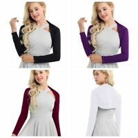Womens Long Sleeve Cotton Shrug Wedding Bolero Jacket Coat Cardigan Crop Top