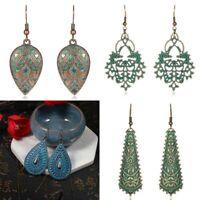 Vintage Bohemian Ethnic Tribal Bronze Carved Ear Stud Women Hook Dangle Earrings