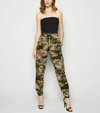 New Look Cameo Rose Green Camo Utility Trousers - Size UK14 , BNWT