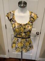 BCBG Max Azria Yellow/Black Ruffle Silk Sleeveless Top, Size XS