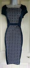 Womens M&S Autograph Dress size 10 blue white pencil work smart occasion vgc