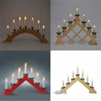Christmas Wooden Traditional Candle Bridge Light Indoor 7 Bulb Window Decoration