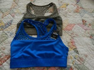 VICTORIAS SECRET Pink Ultimate Fishnet Unlined Sports Bra - Set of 2 - blue and