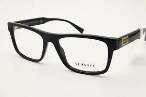 New Authentic Versace VE 3277 GB1 Black Men's Pillow Eyeglasses 55 mm + Case