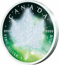 FROZEN MAPLE LEAF AURORA RHODIUM PLATING 1 OZ SILVER COLOURED COIN CANADA 2016