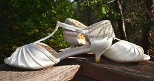 Perfect T-Strap Bridal Ivory Satin Shoes Kitten Heel Rhinestone Peep Toe