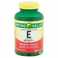 Spring Valley Water Dispersible Vitamin E Supplement 450 mg 100 ct  Exp.08/21