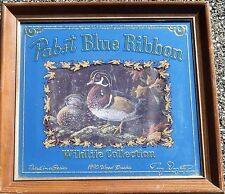 Pabst Blue Ribbon Mirror Beer Sign Wild Life Collection - 1990 Wood Duck