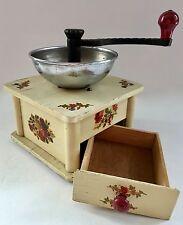Pristine Vintage GRETCHEN European Germany Floral Wood+Metal Coffee Mill/Grinder