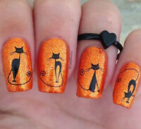 Black Pussy Cats Water Transfers Nail Art Sticker Decals UV Acrylic Decoration