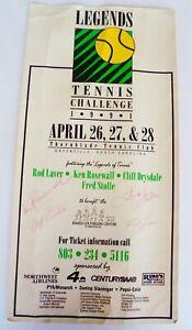 LEGENDS TENNIS CHALLENGE POSTER APRIL1991.SIGNEES.LAVER/STOLLE/ROSEWALL/DRYSDALE