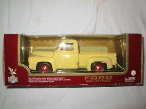 Road Legends Ford 1953 F-100 Pickup Truck Cream/Red Metal Diecast 1/18