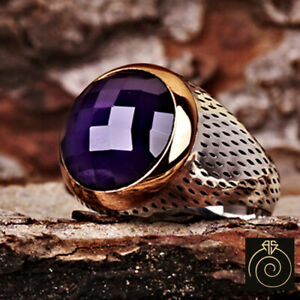 Mens Amethyst Round Stone Statement Silver Ring Anniversary Husband Fiance Gift