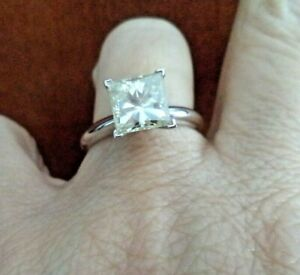 Stunning C&C Princess Cut Moissanite Solitaire Ring 3 Ct 14K WG with Cert