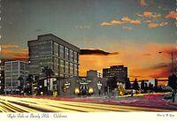 CA Beverly Hills Wilshire Blvd @ Dusk BROWN DERBY RESTAURANT 4x6 postcard