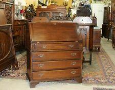 English Antique Oak Slant Front Drop Desk with Key   Home Office Furniture
