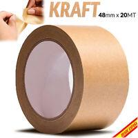 Rollos PRECINTO ADHESIVO KRAFT 48mm x 20m Cinta Adhesiva Embalaje Embalar Fiso