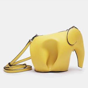 Mini Elephant Cross body Leather Bag - Yellow