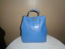 Vintage Longchamp Roseau Blue Tote Leather Handbag