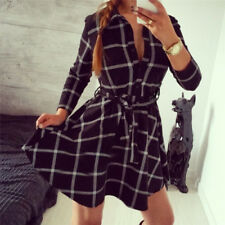 Women Hot Plaid Turn-down Collar Shirt Casual Tunic Shirt Dresses Office Dress''