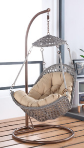 X8028 Rattan Swing Egg chair Beige Cushion Hanging Egg Chair Outdoor Egg Chair