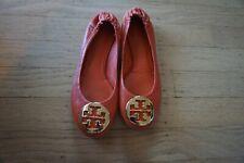 Tory Burch Girls Size 1C Gold Logo Ballet Flats Ballerina Kids Leather