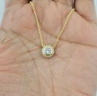 14k Yellow Gold Women Round Diamond Halo Pendant Necklace