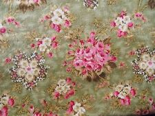 WtW Fabric Floral Green Pink Rose Garden Nature Bruske David Cottage Quilt