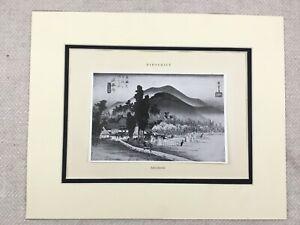 1938 Vintage Japanese Print Hiroshige Ishiyakushi Temple Old Landscape Japan