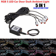 RGB 5 LED Car Door Dash Ambient Light 6m Neon Strip Decorate Phone APP Control