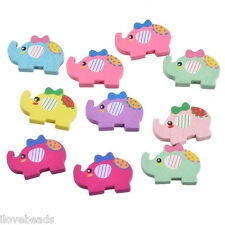 50PCs Mixed Elephant Shape Wood Beads Cute DIY Spacer Crafts Beads Findings