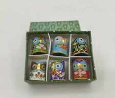 More details for vintage boxed enamel cloisonne owl thimbles bird chinese collectable