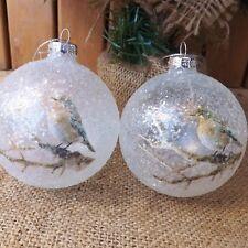 Par Blanco Vidrio Esmerilado Bola de Árbol Pájaro en Rama Adornos para Navidad