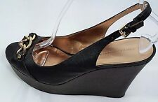 Women's Black Platform Shoe Size 9 1/2-TOMMY HILFIGER Slingback Wedge Heels