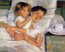 Breakfast in Bed by Mary Cassatt - Woman Laying Cup Child Eat 8x10 Print 2106