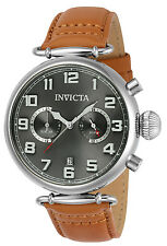 Invicta 22980 Men's Aviator Tan Leather Strap Grey Dial Watch