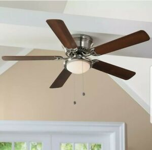"""Hugger 25518 LED Brushed Nickel Ceiling Fan 52"""" w/ Chestnut/Maple Blades"""