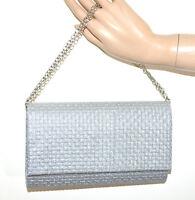BOLSO CLUTCH bag mujer plata glitter elegante ceremonia cadena sac handtas G14